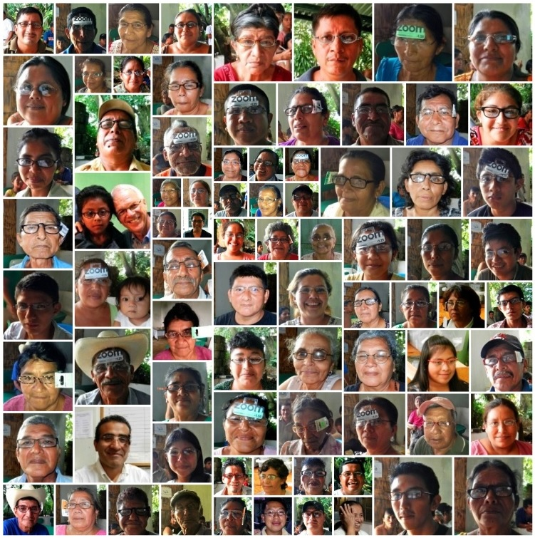 A collage of the people who were given glasses in Santo Domingo Suchitepéquez.